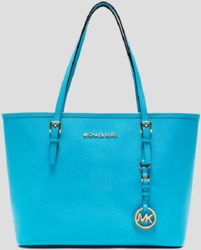 MICHAEL Michael Kors Leather Jet Set Small Travel Tote Purse Handbag Summer Blue by MICHAEL Michael Kors