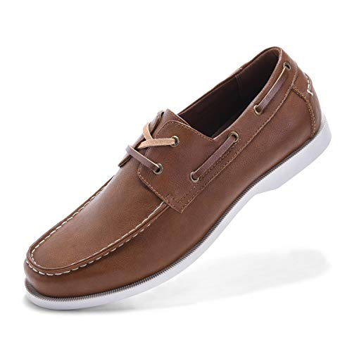 Classic Boat Shoes for Men-Smart Casual Work Loafer Stylish Two-Eyelet Moc Toe Walking Driving Shoes Light brown-11