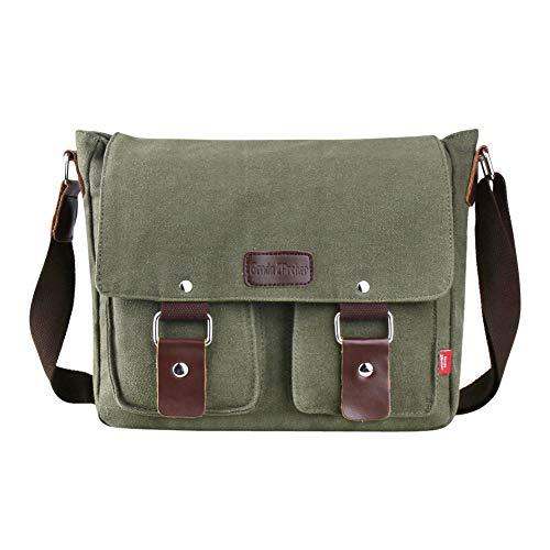 Genda 2Archer Canvas Messenger Bag for Men and Women Vintage (ArmyGreen(New))