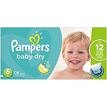 Pampers Baby-Dry Disposable Diapers Size 6, 128 Count, ECONOMY PACK PLUS