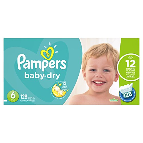 Pampers Baby-Dry Disposable Diapers Size 6, 128 Count, ECONOMY PACK ()