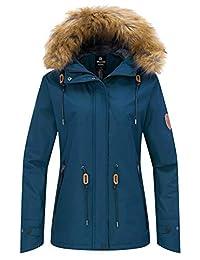Wantdo Women's Windproof Ski Jacket Fleece Coat with Detachable Hood