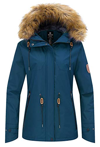 Wantdo Women's Windproof Jacket Hooded Fleece Lined Winter Outwear Blue Black L