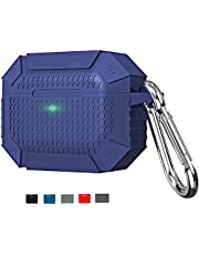 Airpods Pro Case Cover - Rugged Armor Designed Shock-Absorbing Protective Case with Keychain for Apple Airpods Pro Case (2019) (Navy)