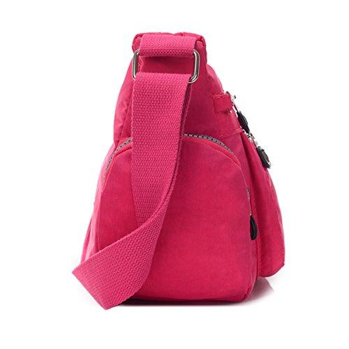 Bolso cruzado Tiny Chou ligero, impermeable, de nailon, con bolsillos de cremallera Rosa - morado (Plum)