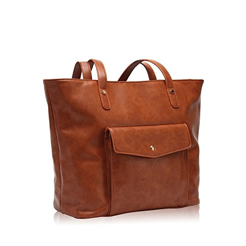 Hynes Victory Chic Handbag Purses Large Tote Bags for Women Brown