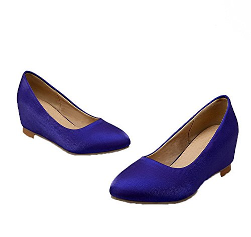 VogueZone009 Women's Solid Low-Heels Pull-on Round-Toe Pumps-Shoes Blue lPKPexiWPh