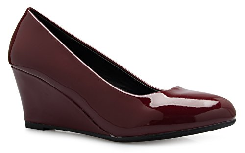 OLIVIA K Women's Adorable Low Wedge Heel Shoe - Easy Low Pumps - Basic Slip On, - Wedge Flat Pump Shoe Heel