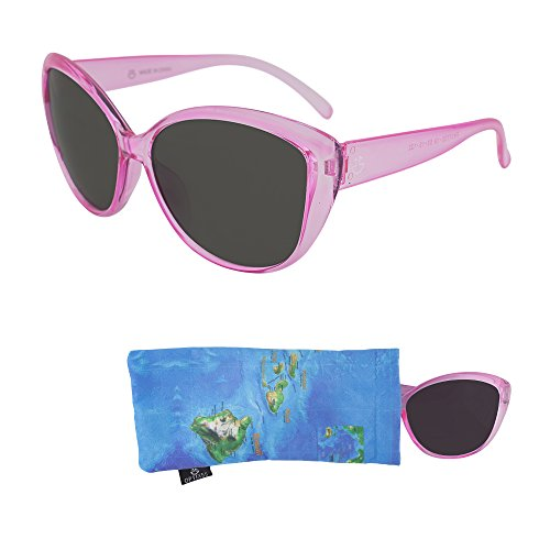 Sunglasses for Teens – Stylish Smoked Lenses for Teenagers - Reduces Glare, 100% UV Protection - Shiny Rose Crystal Frame - Pouch Included - Ages 12 to 18 - By - Sunglasses Tween
