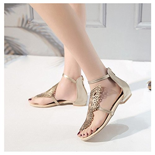 Gold Femmes TAOFFEN Sandales Clip 2 Toe Plates POvq7
