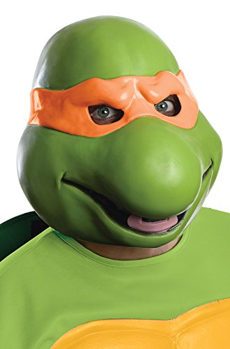 Ninja Turtles Latex Costume (Nickelodeon Teenage Mutant Ninja Turtles Adult Michelangelo 3/4 Mask, Green, One Size)