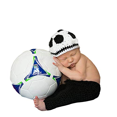 Infant Newborn Baby Boy Girl Crochet Costume Outfits Photography Props Football Player Outfit Hat+Pant 0-6 -