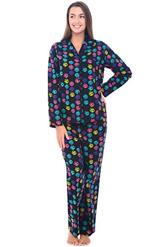 Del Rossa Womens Flannel Pajama Set, Long Cotton Pjs, Large Animal Print Dots (A0509N05LG)