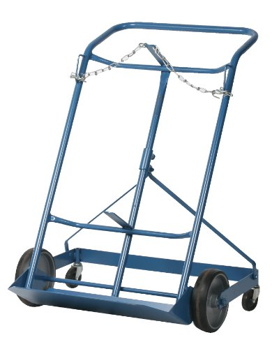Wesco 210124 Professional Series Steel Cylinder 4-Wheel Hand Truck, Moldon Rubber Wheels, 500-lb.Load Capacity, 29