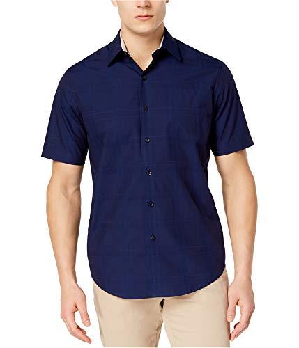Tasso Elba Mens Textured Button Up Shirt Blue L -