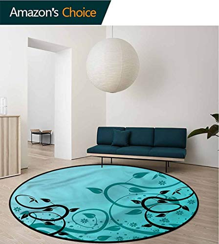 RUGSMAT Teal Small Round Rug Carpet,Winding Tendrils Leaves Vines Coffee Table Mat Non-Skid Living Room Carpet Diameter-47