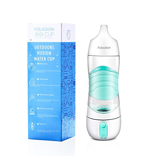 Foladion Smart Sports Water Bottle 400ML, Beauty Spray Moisturizing Skin, Night Light, SOS Warning Light, 2 Hours Drinking Remind, Humidifier, USB Recharging, Valentines Gift
