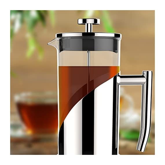 "Gorgeous [8 Cup] French Press Coffee Maker & Tea Maker (34 Oz) - Best Café Press Pot with 18/8 Grade Stainless Steel & No-Shatter Borosilicate Glass - Drink the Perfect Cafetiere Cuppa Every Time! 4 BLACK FRIDAY SUPER SALE COUPON - Want to save an EXTRA 10% TODAY Only? Use Coupon at checkout: LLPRIME1. Limited Stock! Expires Today! SKIP THE CAFÉ - OUR PATENTED SYSTEM IS 100 TIMES BETTER: Did you know that the IDEAL French press with the PERFECTLY SIZED micro filter actually UNLOCKS FLAVORS you've never tasted before? AROMAS you'll only find in a European Café? And the happiness only the perfect cuppa brings? Yeah, it's like that... 4 MINUTES - IMAGINE IF YOU COULD GET THE PERFECT CUPPA FASTER than your Barista could make it! If you're looking for a barista quality French press coffee maker that's actually FASTER than standing in line at you know where, then you'll love how our RAPID RELEASE stainless steel French Coffee press microfilter and plunger system delivers you SMOOTH, CREAMY COFFEE in 4 minutes or less! PICS DON'T DO IT JUSTICE! Stunning and sleek in design, this will have you (or your beloved gifted) saying ""OOOOH LA LA GORGEOUS!"" Every detail is accounted - from the COOLTouch handle to the LUSTROUS 18/8 CHROME STAINLESS STEEL to the curvaceous design, to the sparkling borosilicate glass - it's a VISION to behold."