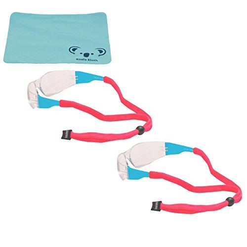 Chums Original Cotton Eyewear Retainer Sunglass Strap   Adjustable Eyeglass & Sports Glasses Holder Keeper Lanyard   2pk Bundle + Cloth, - Pink Spectacles