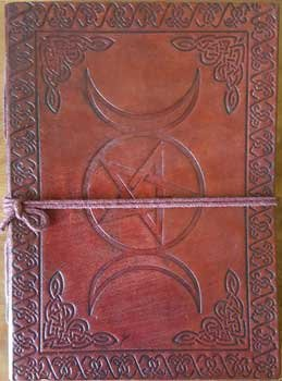 Triple Moon Pentagram Leather Blank Book/Journal with Cord, 5