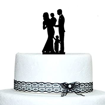 Amazon.com: Family Wedding Cake Topper with Toddler and Little Boy ...