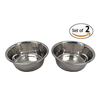 Stainless Steel Dog Bowls Set, 8  Large, 64oz/2-Quart Bowls, Two Bowls for One Low Price!