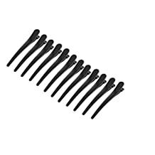 "12 Pcs Black Metallic Single Prong Hair Clips Alligator Barrette Hairdressing Salon Hair Grip DIY Accessories Non-slip Chic Styling Claw Hair Barrettes for Women and Girls 3.1"" Long"