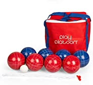 Play Platoon Bocce Ball Set with 8 Premium Bocce Balls, Pallino, Carry Bag & Measuring