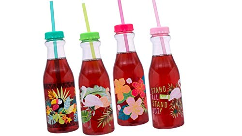 (Water Bottles - Tumblers (4 Pack) Fun Safe Plastic Luau Themed Bottle Tumbler With Cap and Straws - Travel Mugs - Tumblers With Lids and Straws - Luau Tiki Party Decor)