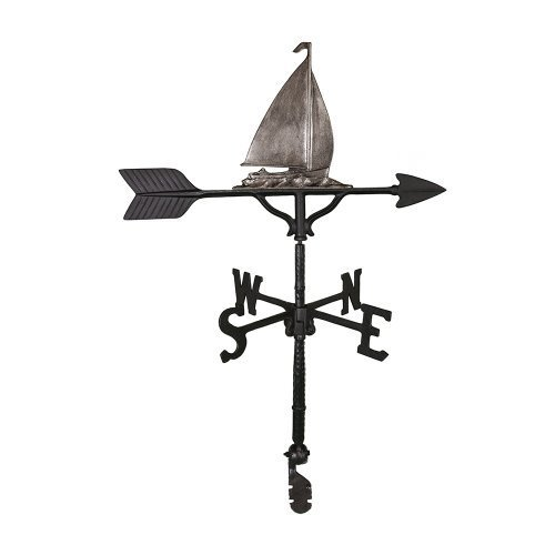Montague Metal Products 32-Inch Weathervane with Swedish Iron Sailboat Ornament by Montague Metal Products