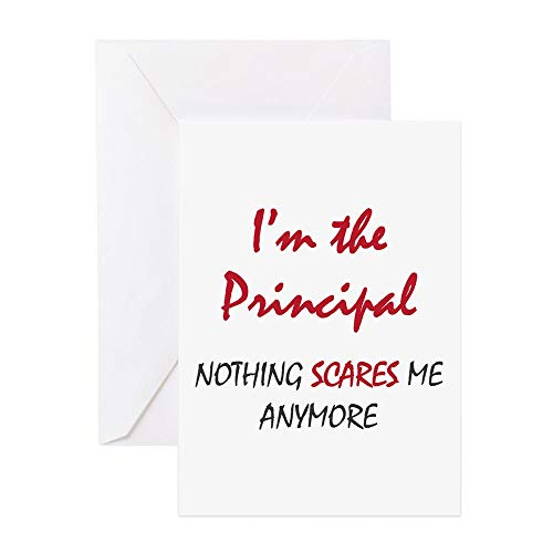 CafePress Nothing Scares Principal Greeting Card, Note Card, Birthday Card, Blank Inside Glossy