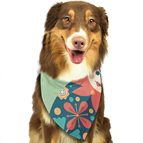 OURFASHION Russian Traditional Nesting Doll Flat Cartoon Culture Bandana Triangle Bibs Scarfs Accessories for Pet Cats and Puppies]()