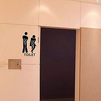Leoy88 Removable Man Woman Washroom Toilet Sticker Family DIY Decor 13x22cm