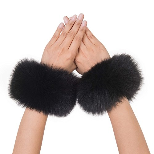 MONICA REA Women's Fox Fur Short Wrist Cuff Warmers For Winter Clothes Sleeve ()