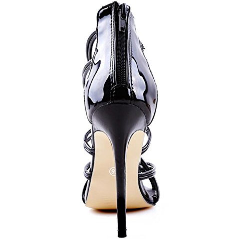 LINYI Women's Sandals Stiletto Heels New Catwalk Ankle Strap Shoes High Heels Black bcIAips