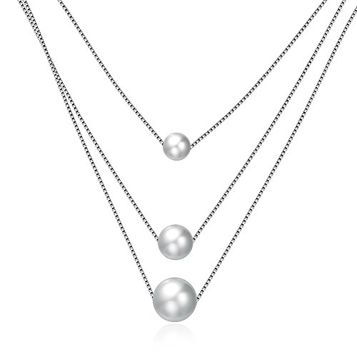 - TIDOO Jewelry Descending Triangle Layered Necklace 925 Sterling Silver 3 Simulated Pearl Pendant Necklace,Rope Chain 18
