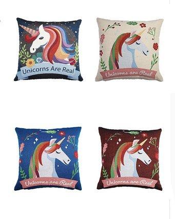 4 unds. fundas de cojin los Unicornios existen absolutamente ...