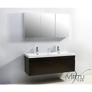 Virtu USA JD 50355 WG 55 Inch Zuri Double Sink Bathroom Vanity, Wenge