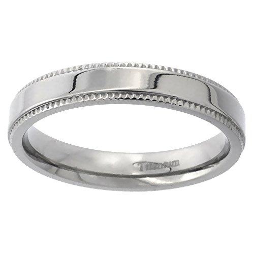 Flat Milgrain Wedding Band - 4mm Titanium Milgrain Wedding Band Ring Polished Flat Comfort Fit size 8