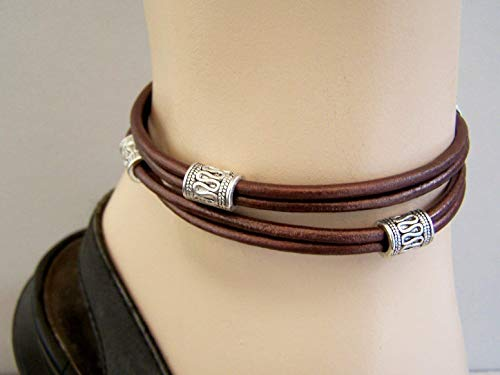 Anklet Double Leather - Double wrap leather ankle bracelet, Brown or Black with silver-tone beads, Men anklet, gift for him/her