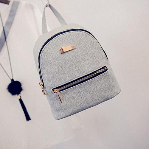 Lenfesh de cuero mochila gris sintético Bolso mujer para qxtzEwqr5