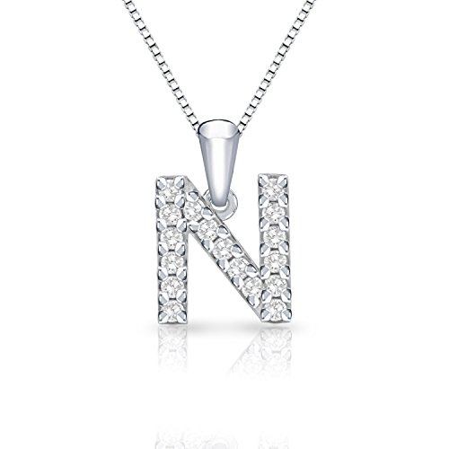 (Diamond Wish 14k White Gold Initial N Diamond Pendant Necklace (1/10 cttw) with 18