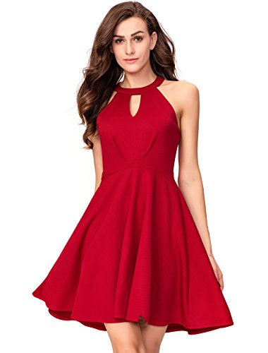 InsNova Red Halter Neck Keyhole Cocktail Party Dress for Womens Teens Junior