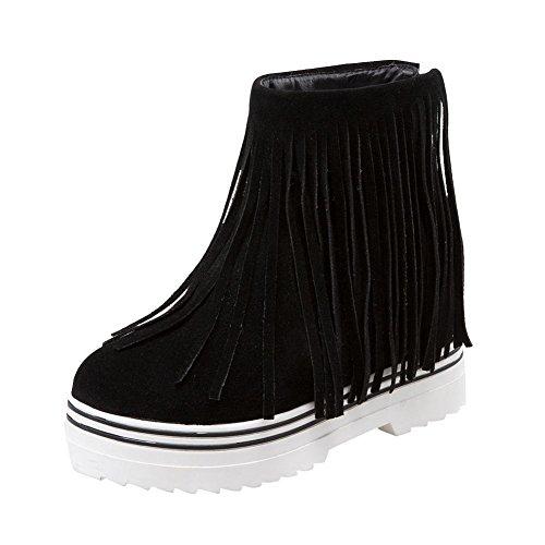 Carolbar Womens Tassels Zip Retro Platform Hidden Heel Short Boots Black AhaNj9i