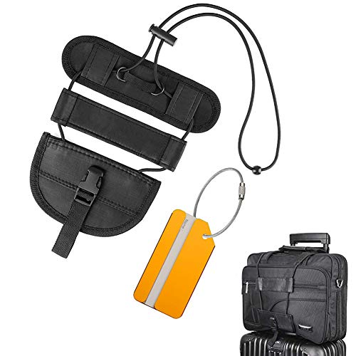FXICAI Luggage Straps Bag Bungee Adjustable Suitcase Belt with Travel Tags Label Accessories (Black)
