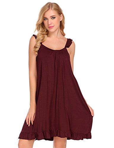 Ekouaer Womens Luxury Modal Nightgown Comfort Chemise Full Slip Under Dress (Wine Red, L)