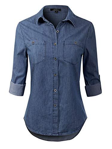 (Instar Mode Women's Basic Classic Roll up Sleeve Button Down Chambray Denim Shirt , Ibdw006 Dark Denim, X-Large)