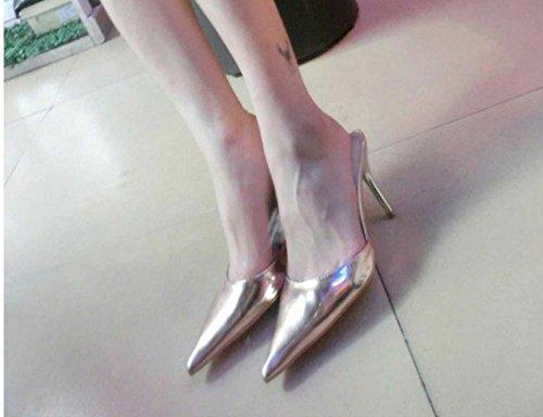AWXJX Sommer- Frauen Flip Flops Fein mit Wies High Heel Komfortable Kunstleder Baotou Hälfte ziehen Silber 8.5 US 39 EU 6 UK