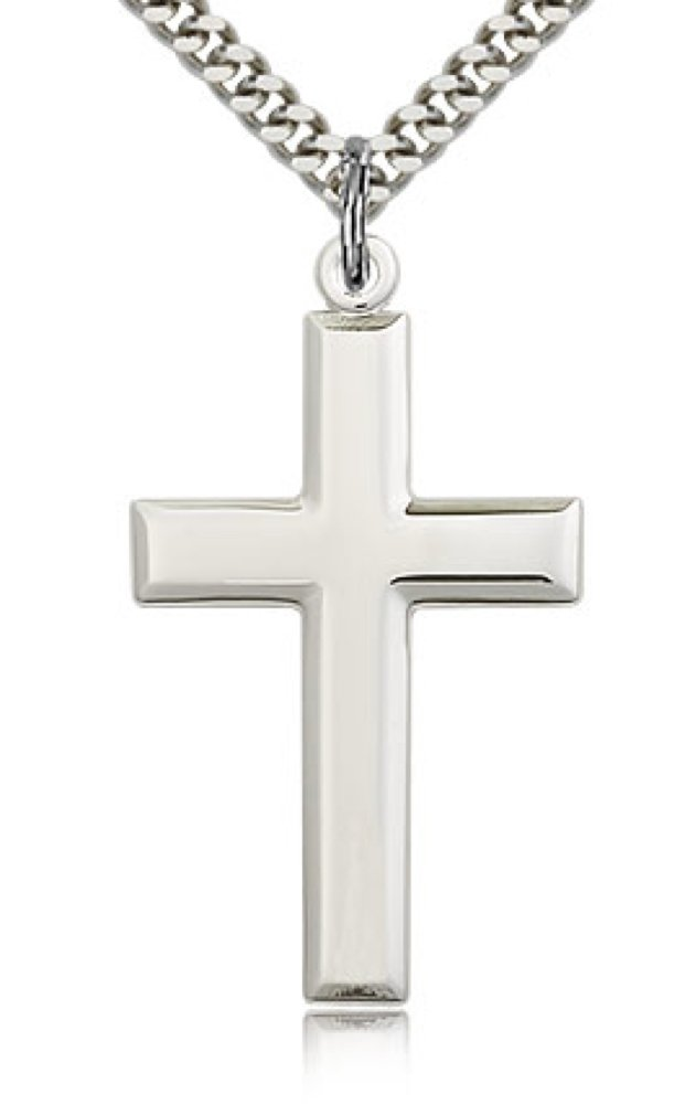 Classic High Polish Cross Sterling Silver Pendant for Men + 24 Inch Sterling Silver Chain & Clasp