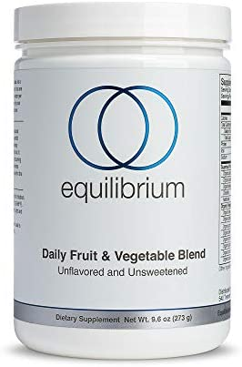 Daily Fruit and Vegetable Blend Green Juice Superfood Powder 22 Organic Fruits, Vegetables Wheatgrass Powder, Barley Grass, Spirulina Powder Paleo, Dairy Free 9.6 oz Equilibrium Nutrition